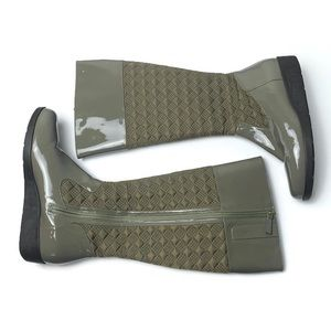 Cole Haan green quilted rubber rain boots